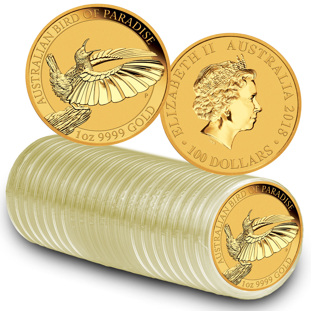 Roll of 20 - 2018-P Australia 1 oz Gold Bird of Paradise $100 Coins GEM BU