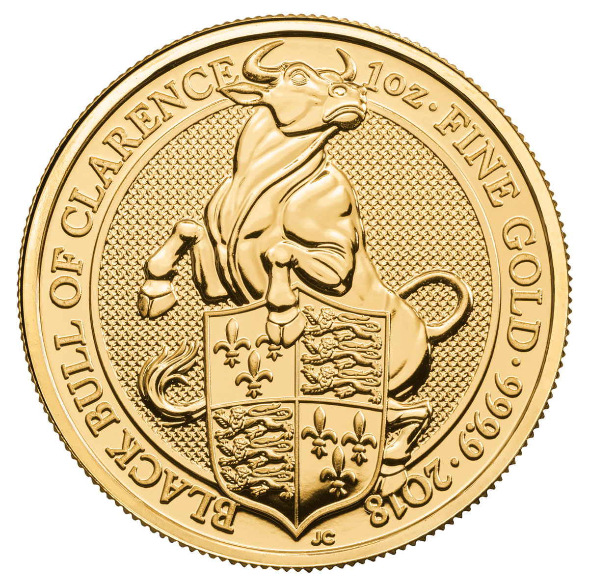 2018 Great Britain 1 oz Gold Queen's Beasts - The Black Bull of Clarence £100 Coin GEM BU