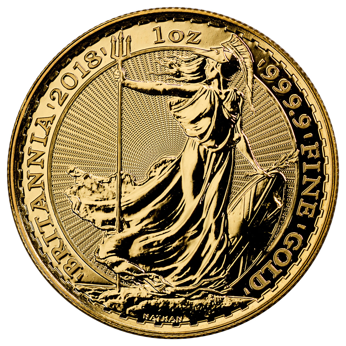 2018 Great Britain 1 oz Gold Britannia £100 Coin GEM BU