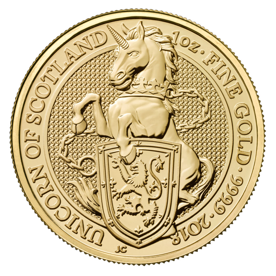 2018 Great Britain 1 oz Gold Queen's Beasts - The Unicorn of Scotland £100 Coin GEM BU