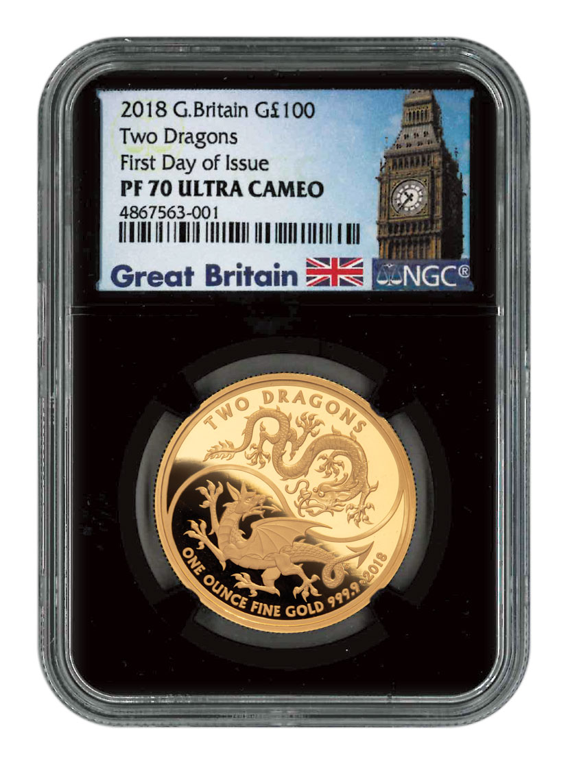 2018 Great Britain Two Dragons 1 oz Gold Proof £100 Coin Scarce and Unique Coin Division NGC PF70 FDI Black Core Holder Exclusive Great Britain Label