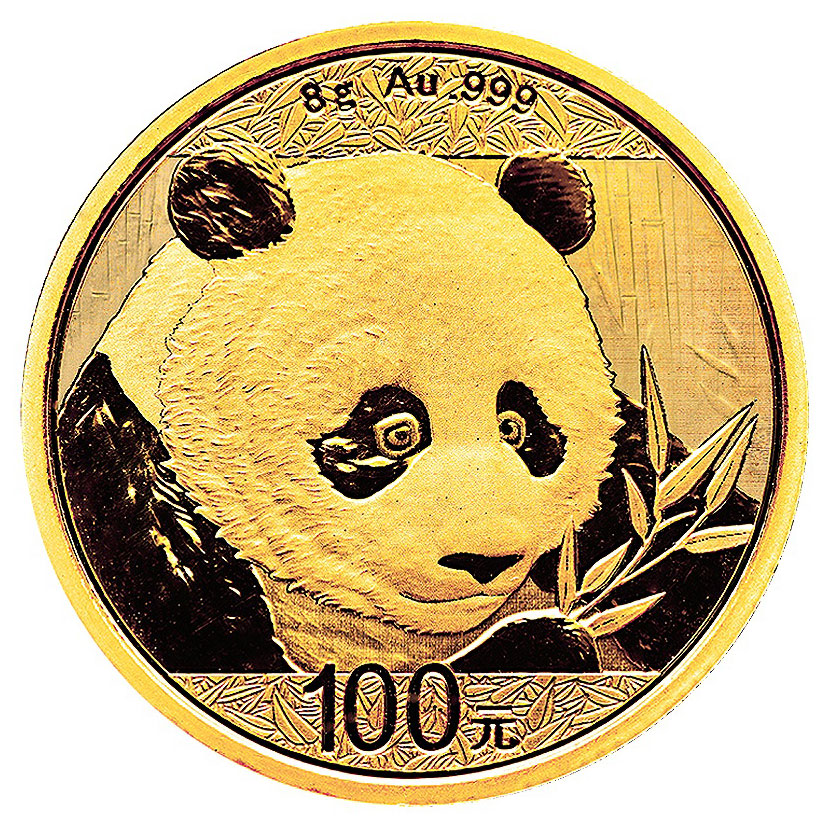 2018 China 8 g Gold Panda ¥100 Coin GEM BU Mint Sealed