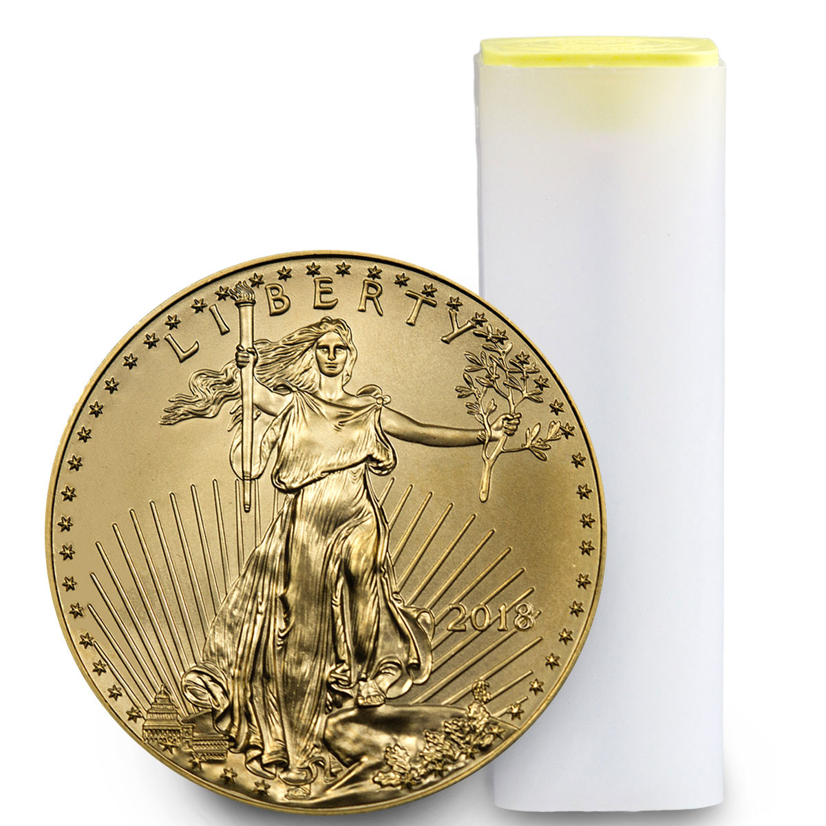 Roll of 40 - 2018 1/2 oz Gold American Eagle $25 GEM BU
