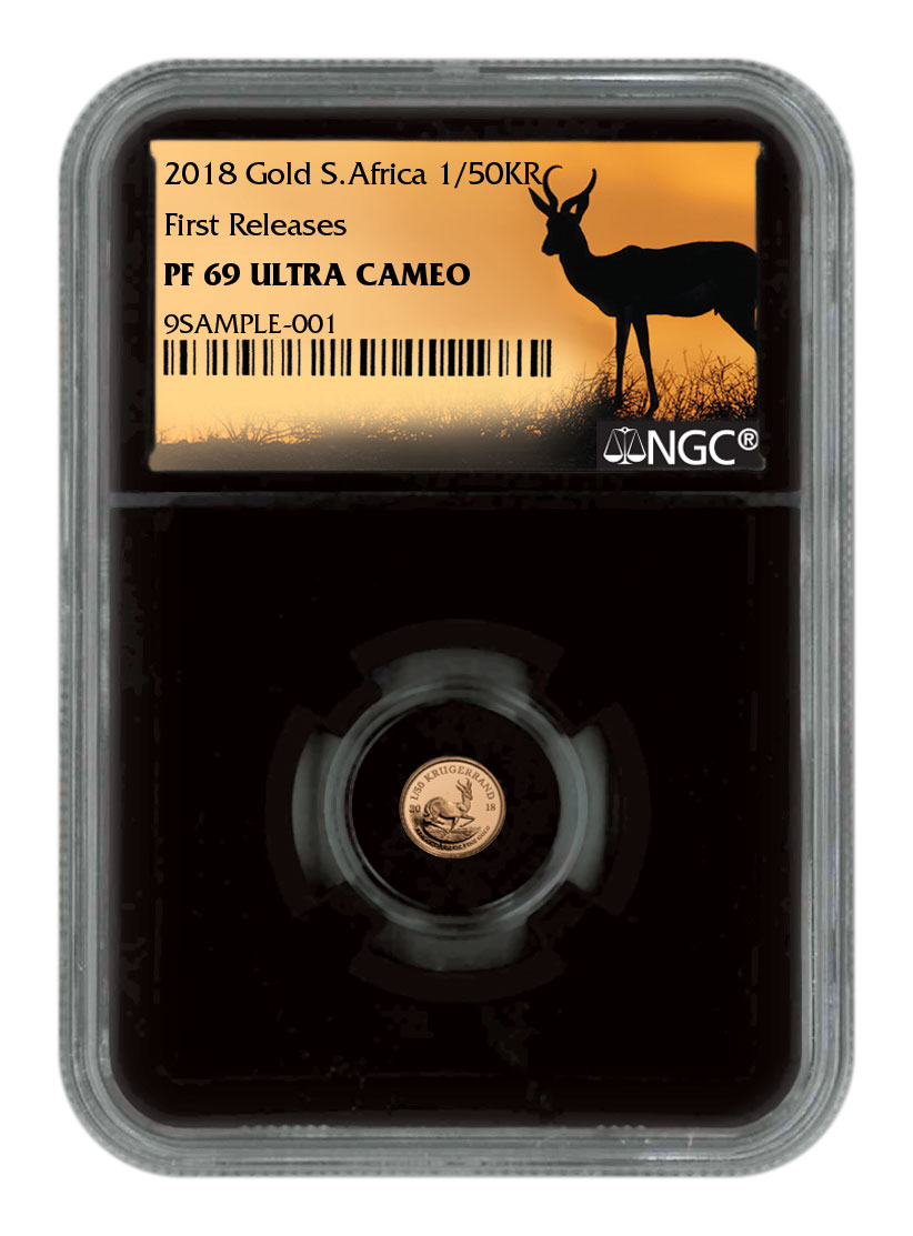 2018 South Africa 1/50 oz Gold Krugerrand Proof 0.02 Coin NGC PF69 UC FR Black Core Holder Exclusive Krugerrand Label