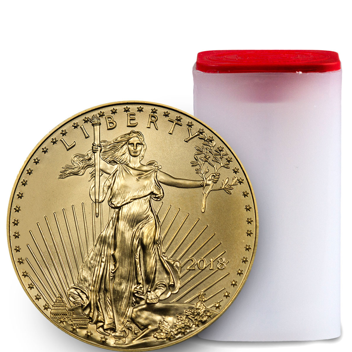 Roll of 20 - 2018 1 oz Gold American Eagle $50 GEM BU