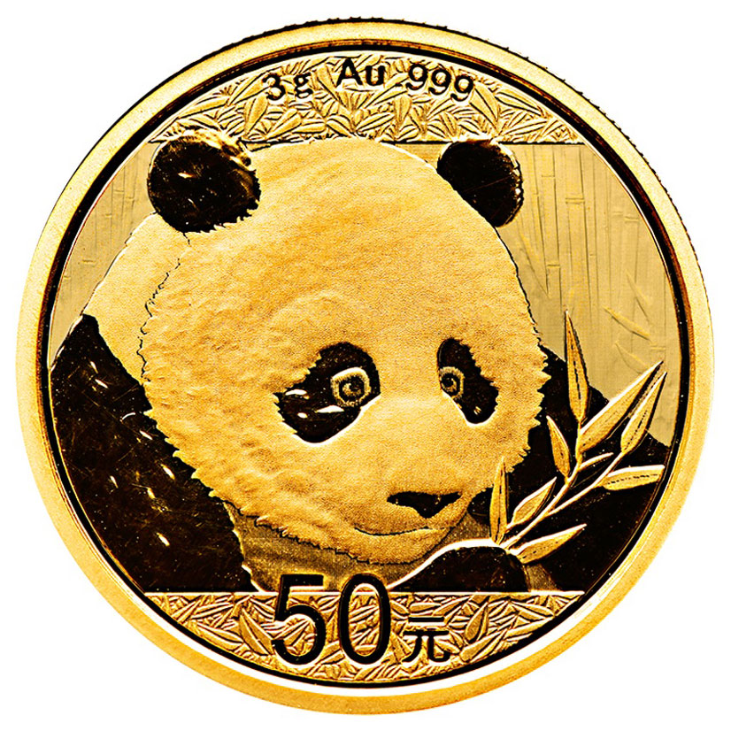 2018 China 3 g Gold Panda ¥50 Coin GEM BU Mint Sealed