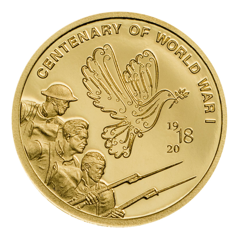 2018 Cook Islands Centenary of World War I Gold Prooflike $5 Coin GEM Prooflike Original Mint Capsule