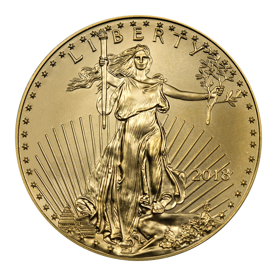 2018 1/2 oz Gold American Eagle $25 GEM BU