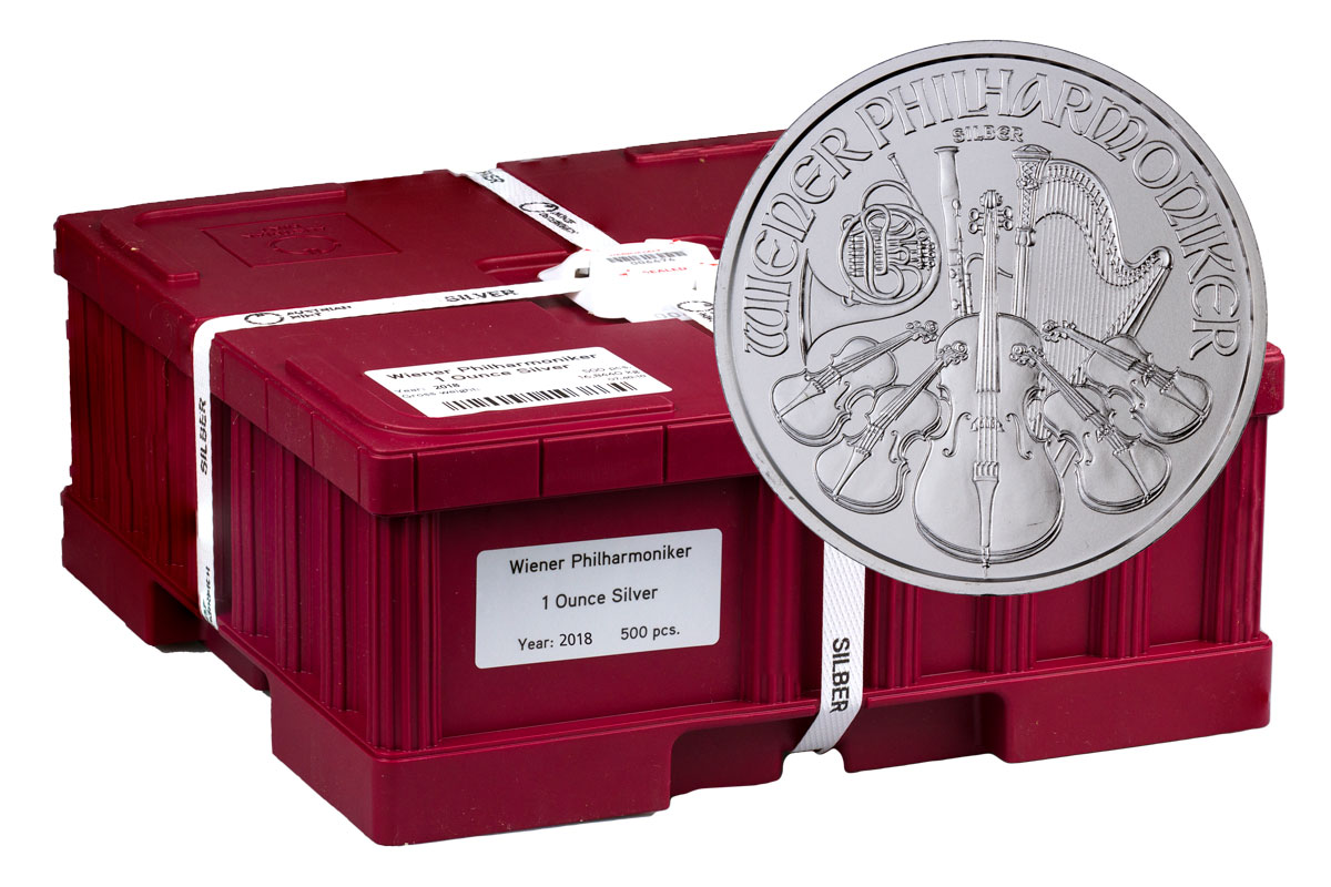 Monster Box of 500 - 2018 Austria 1 oz Silver Philharmonic €1.50 Coins GEM BU
