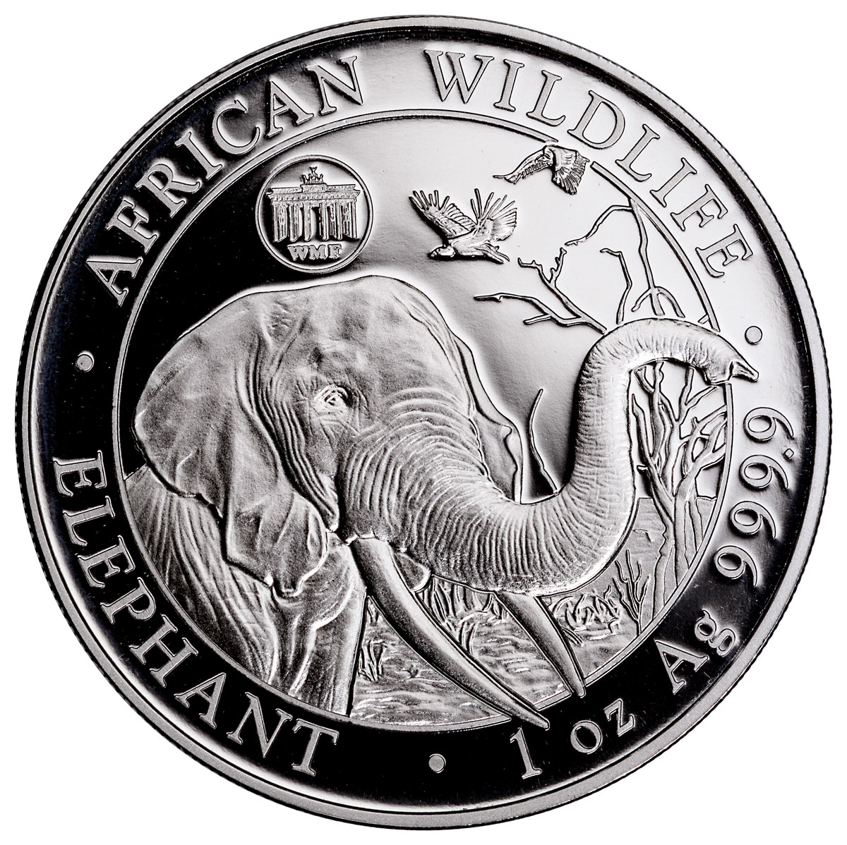 2018 Somalia 1 oz Silver Elephant - Berlin World Money Fair Privy Prooflike Sh100 Coin GEM BU
