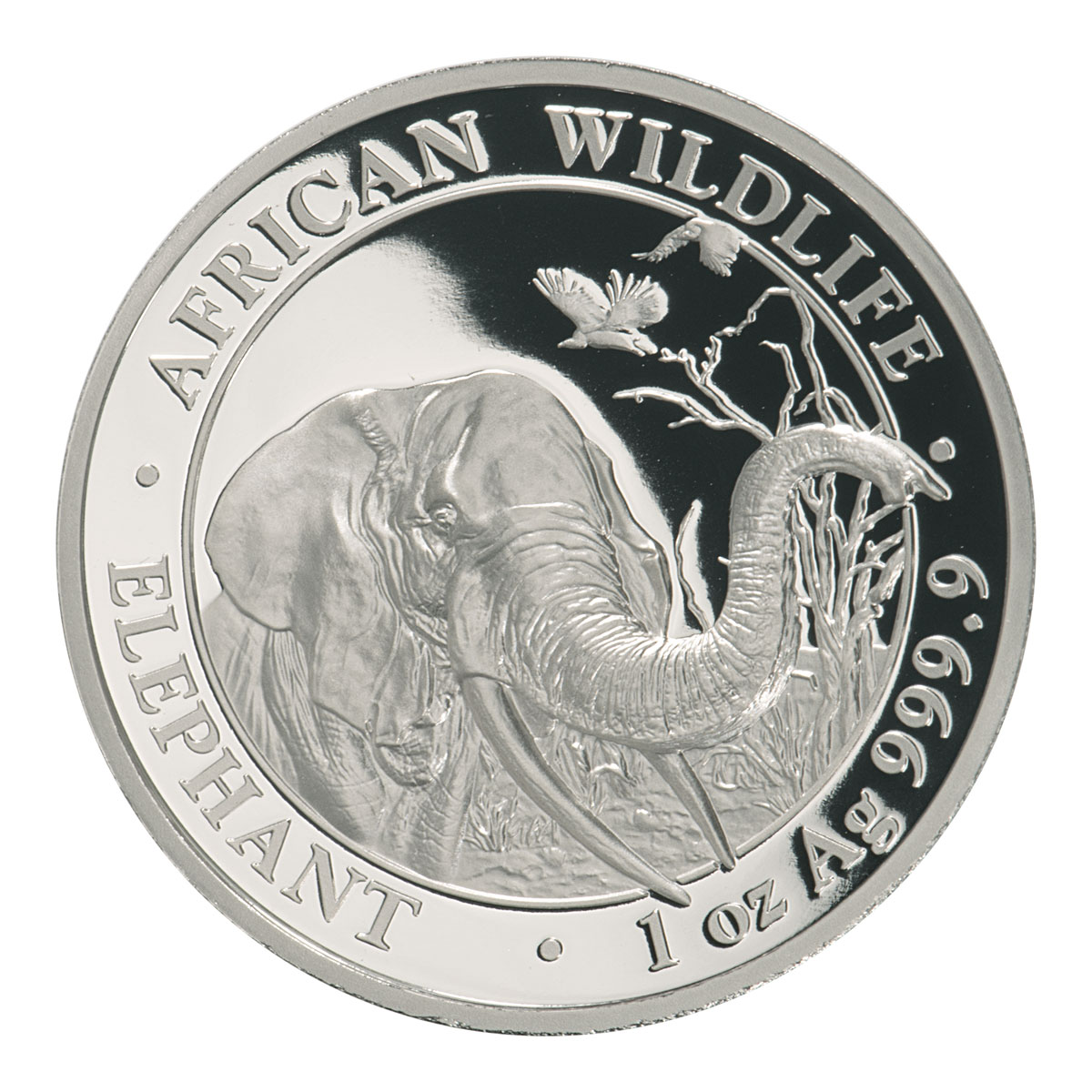 2018 Somalia 1 oz High Relief Silver Elephant Proof Sh100 Coin GEM Proof OGP