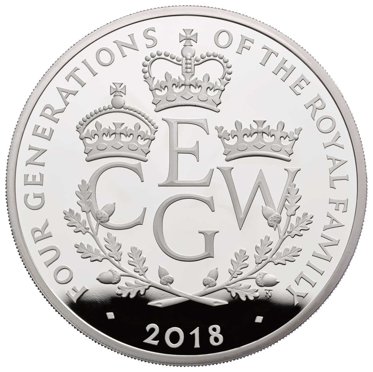 2018 Great Britain Four Generations of Royalty 5 oz Silver Proof £10 Coin GEM Proof