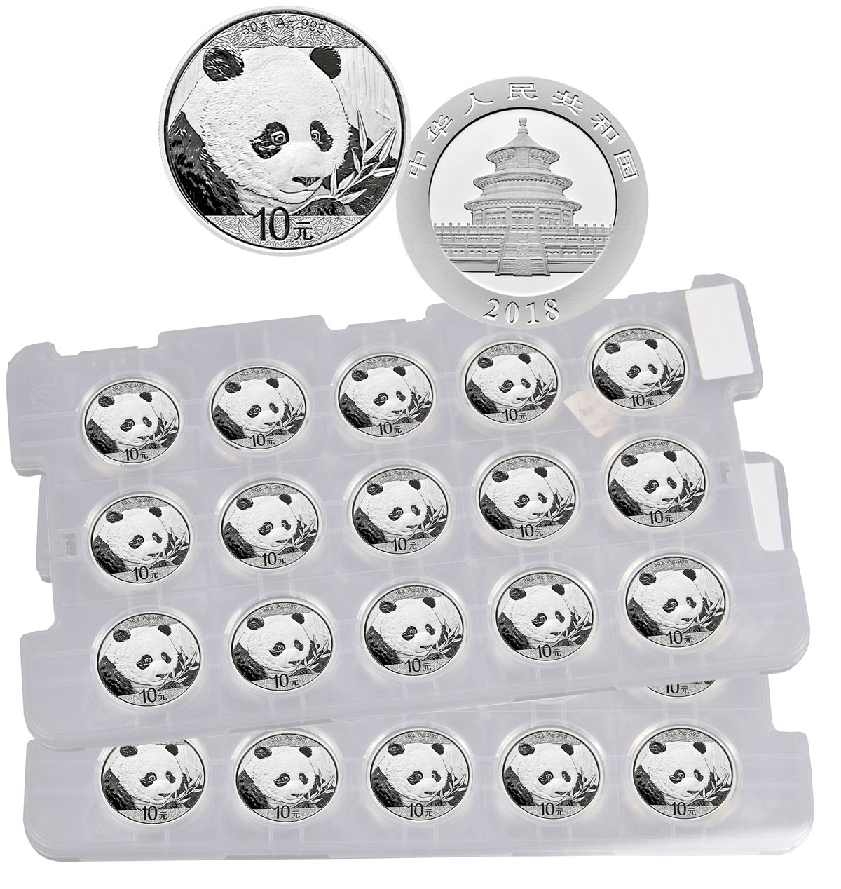 2 Sheets of 15 - 2018 China 30 g Silver Panda - 35th Anniversary ¥10 Coins GEM BU Original Mint Capsules