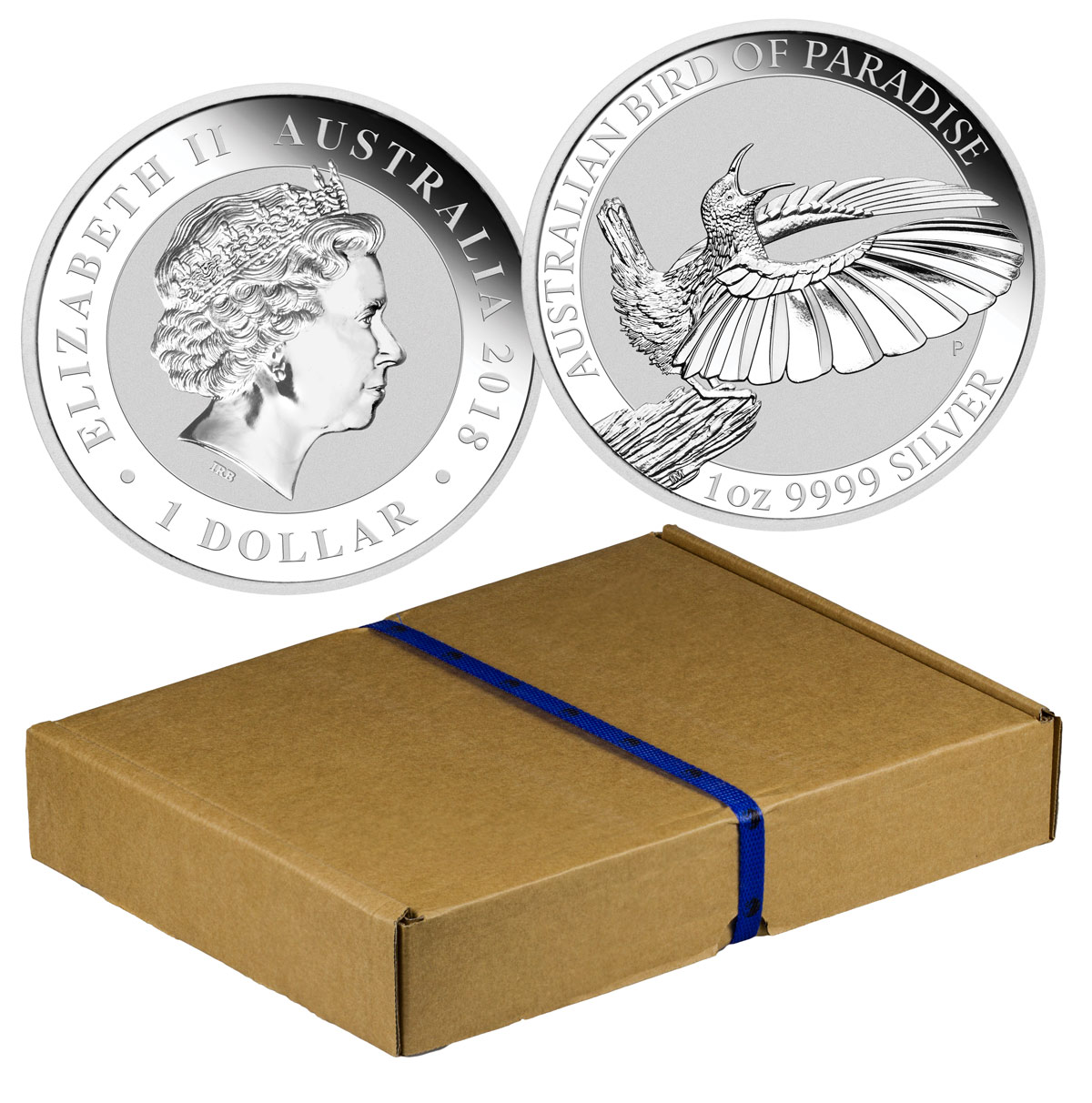 Mint Box of 100 - 2018-P Australia 1 oz Silver Bird of Paradise $1 Coins GEM BU