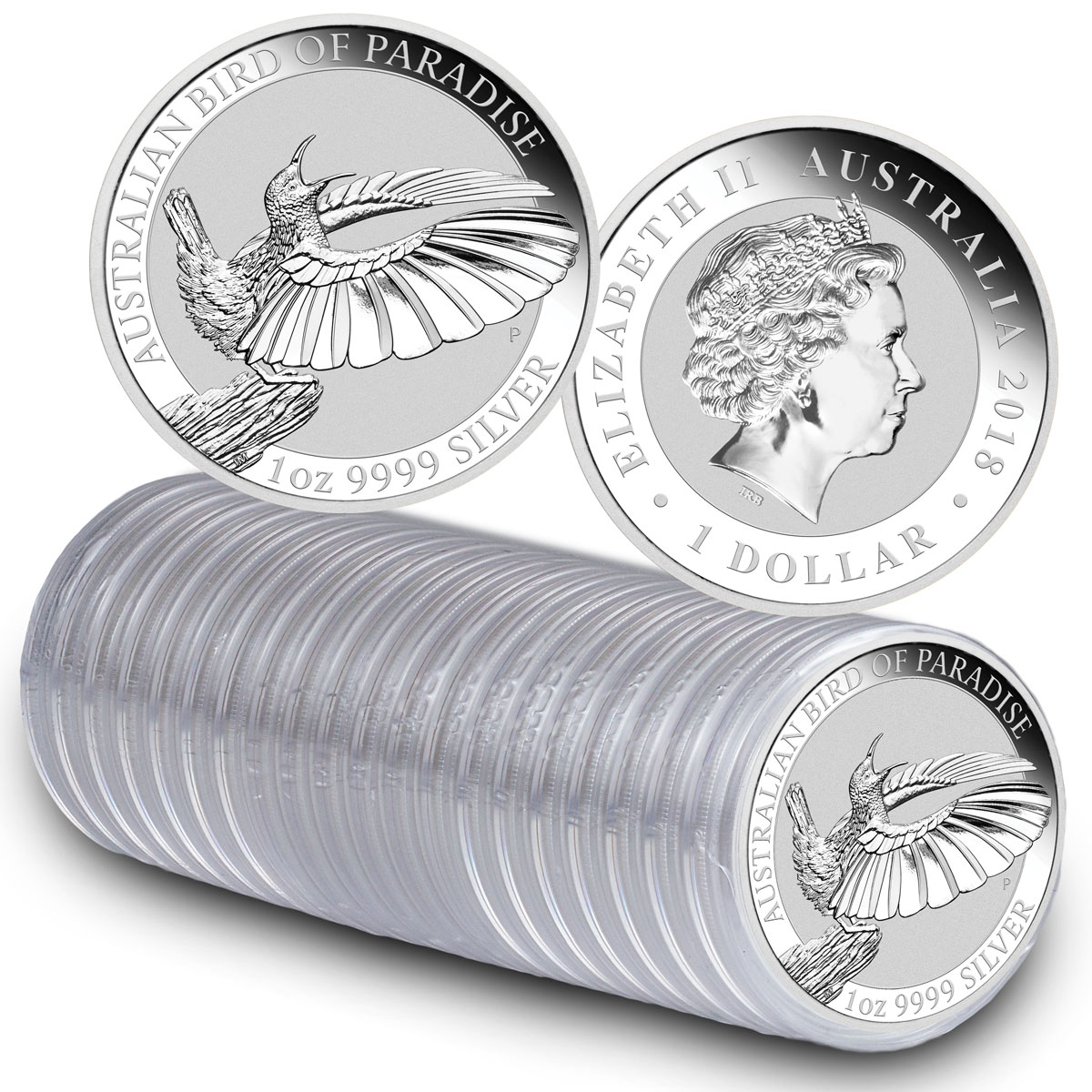 Roll of 20 - 2018-P Australia 1 oz Silver Bird of Paradise $1 Coins GEM BU