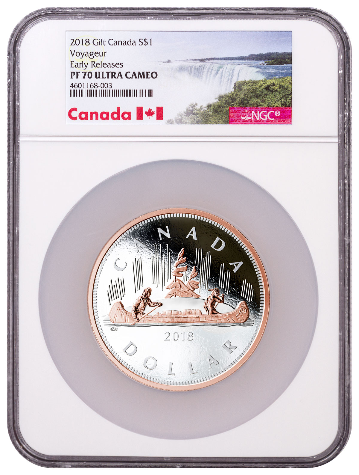 2018 Canada Big Coin Voyageur Dollar 5 Oz Silver Gilt 1