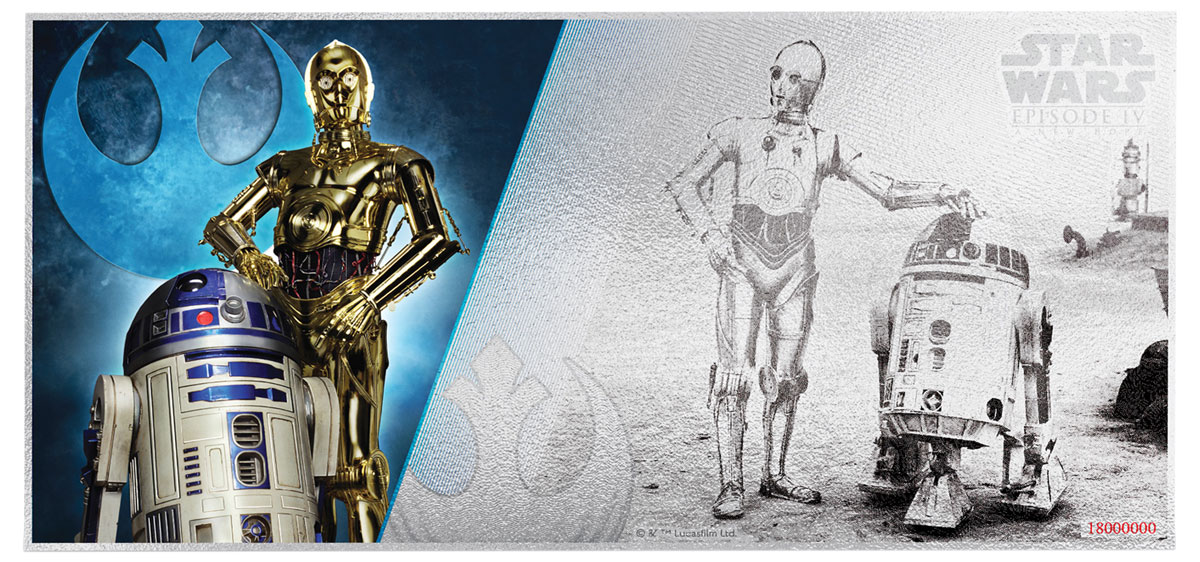 2018 Niue Star Wars: A New Hope - R2-D2 and C-3PO Foil Note 5 g Silver $1 Coin GEM BU OGP