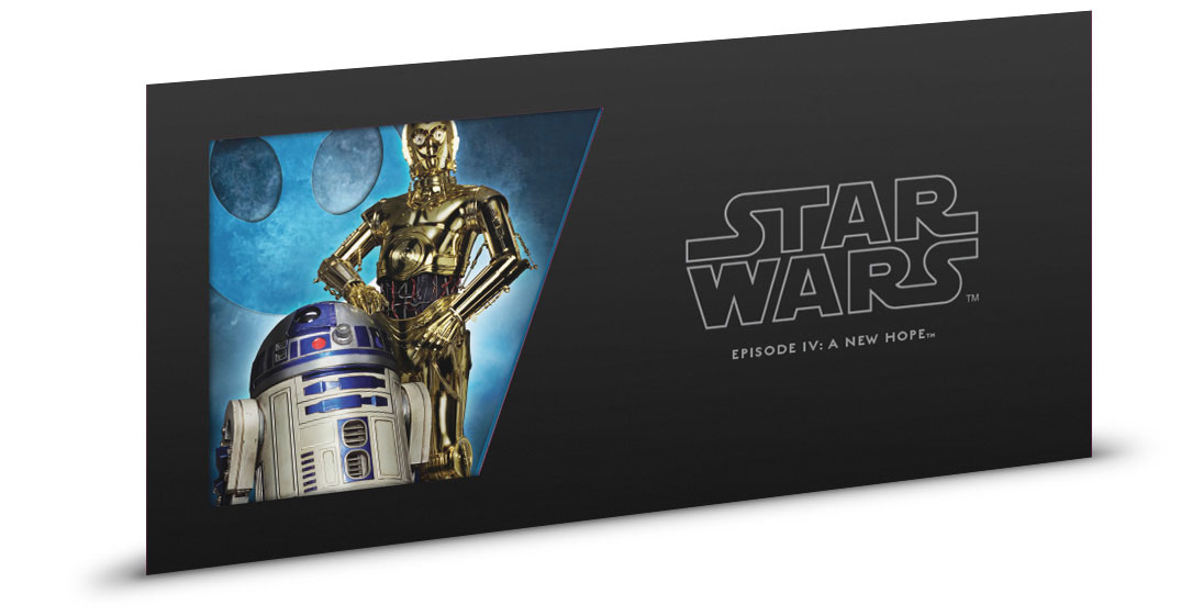 R2-D2 and C-3PO Foil Note 5 g Silver BU SKU52864 2018 Niue Star Wars New Hope