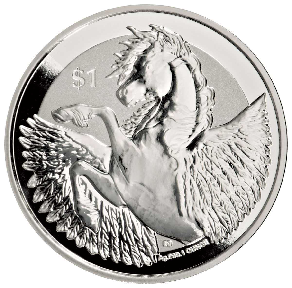 2018 British Virgin Islands 1 oz Silver Pegasus Reverse Proof $1 Coin GEM Reverse Proof