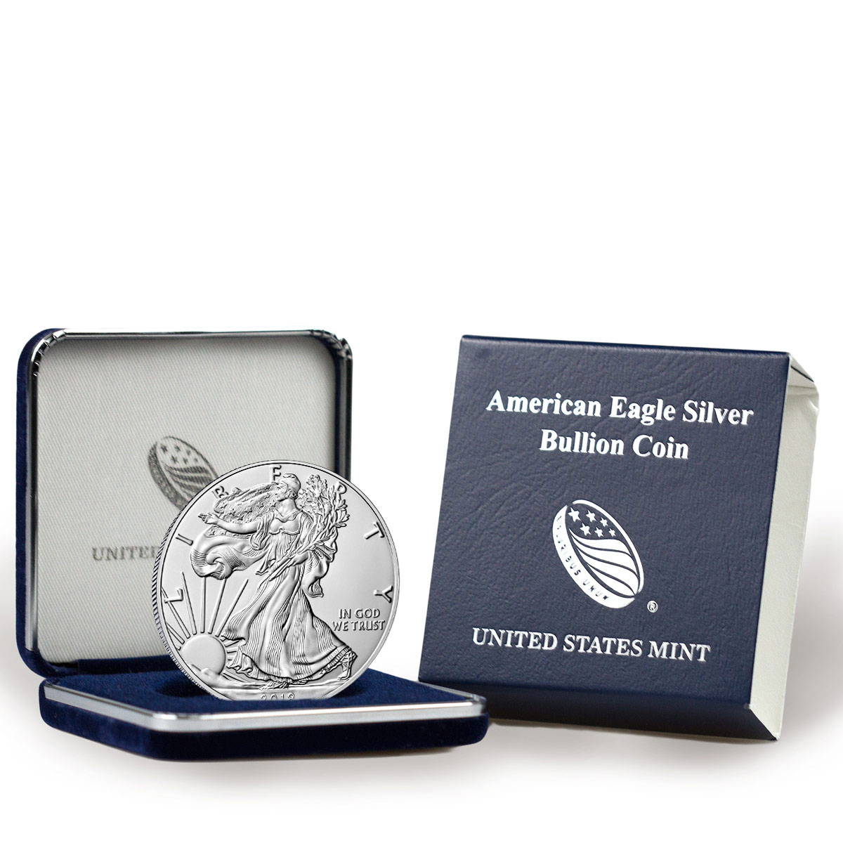 2018 American Silver Eagle GEM BU with U.S. Mint Display Box