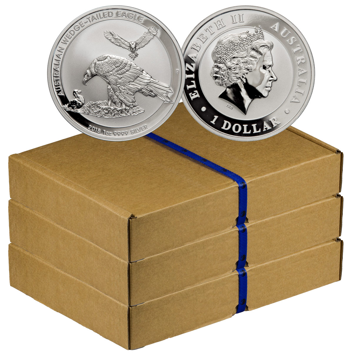 Monster Box of 300 - 2018-P Australia 1 oz Silver Wedge-Tailed Eagle $1 Coins GEM BU