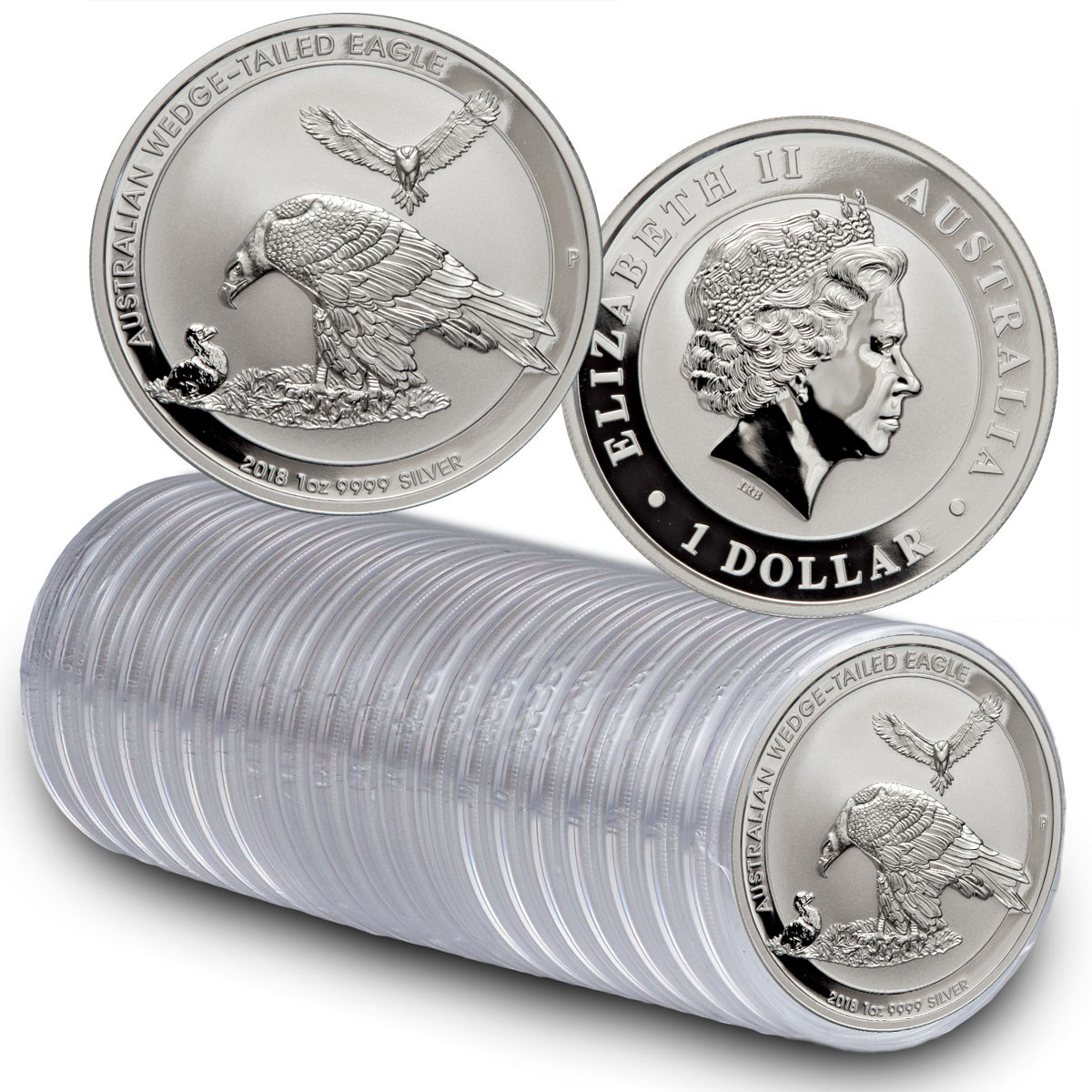 Roll of 20 - 2018-P Australia 1 oz Silver Wedge-Tailed Eagle $1 Coins GEM BU
