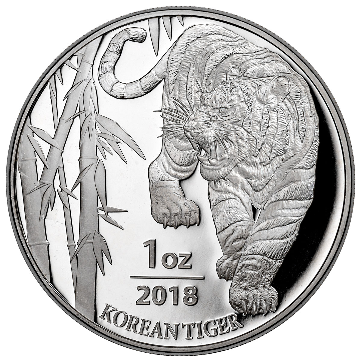 2018 South Korea 1 oz Silver Tiger Coin GEM BU