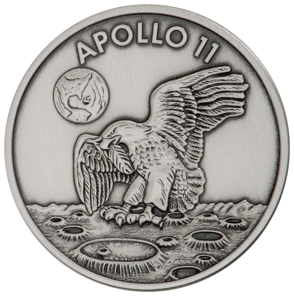 1969-2019 Apollo 11 50th Anniversary Robbins Medals 1 oz Silver with Space Flown Alloy Antiqued Medal