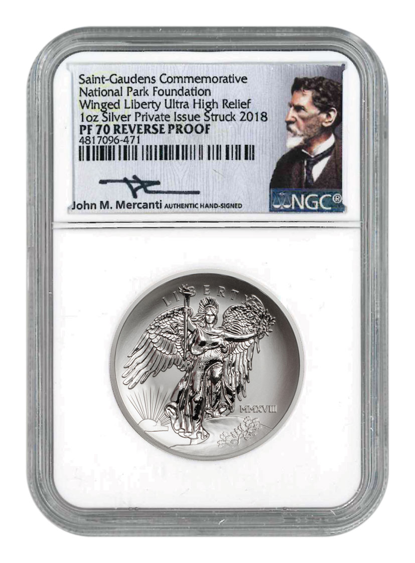 2018 Saint-Gaudens Winged Liberty Ultra High Relief 1 oz Silver Reverse Proof Medal NGC PF70 Mercanti Signed National Parks Label