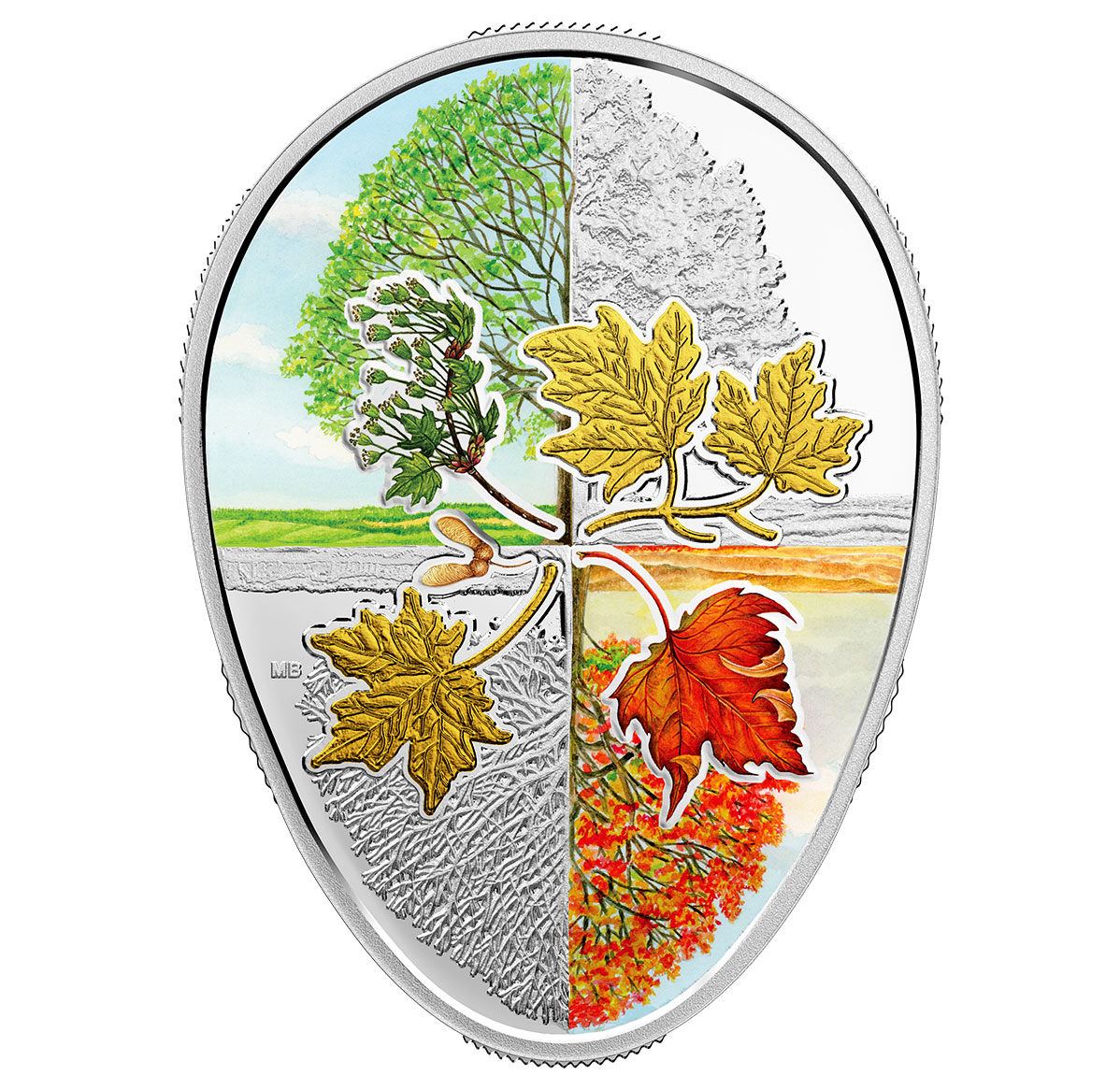 2018 Canada Four Seasons of the Maple Leaf Egg Shaped 1 oz Silver Gilt Proof $20 Coin GEM Proof OGP