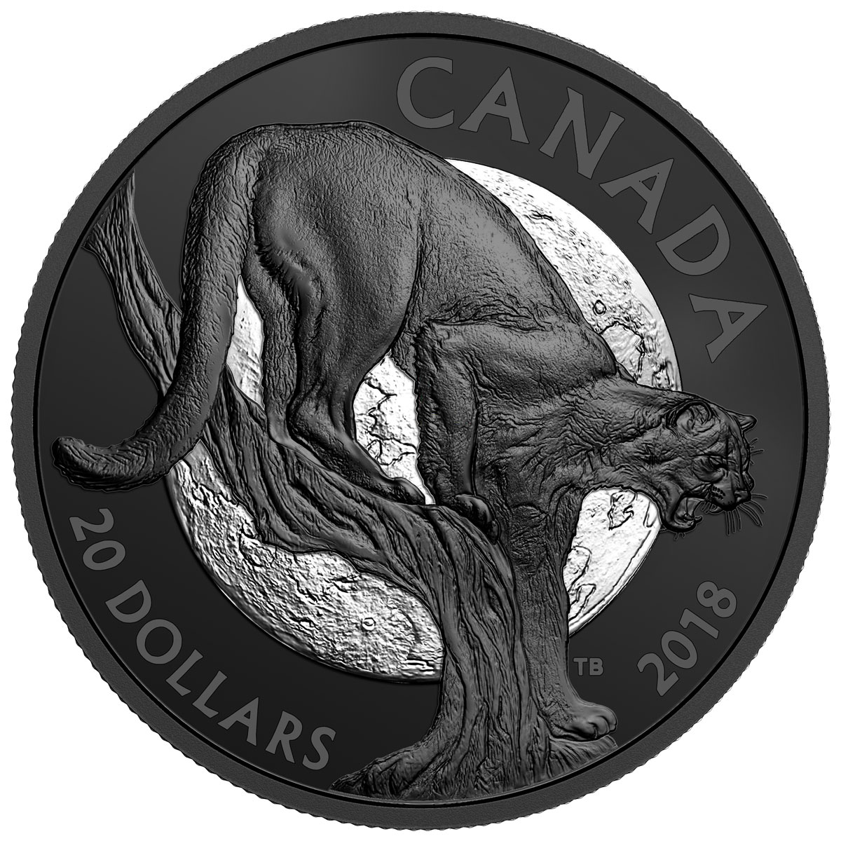 2018 Canada Nocturnal By Nature - Cunning Cougar 1 oz Silver Black Rhodium-Plated Matte Proof 20 Coin GEM Proof OGP