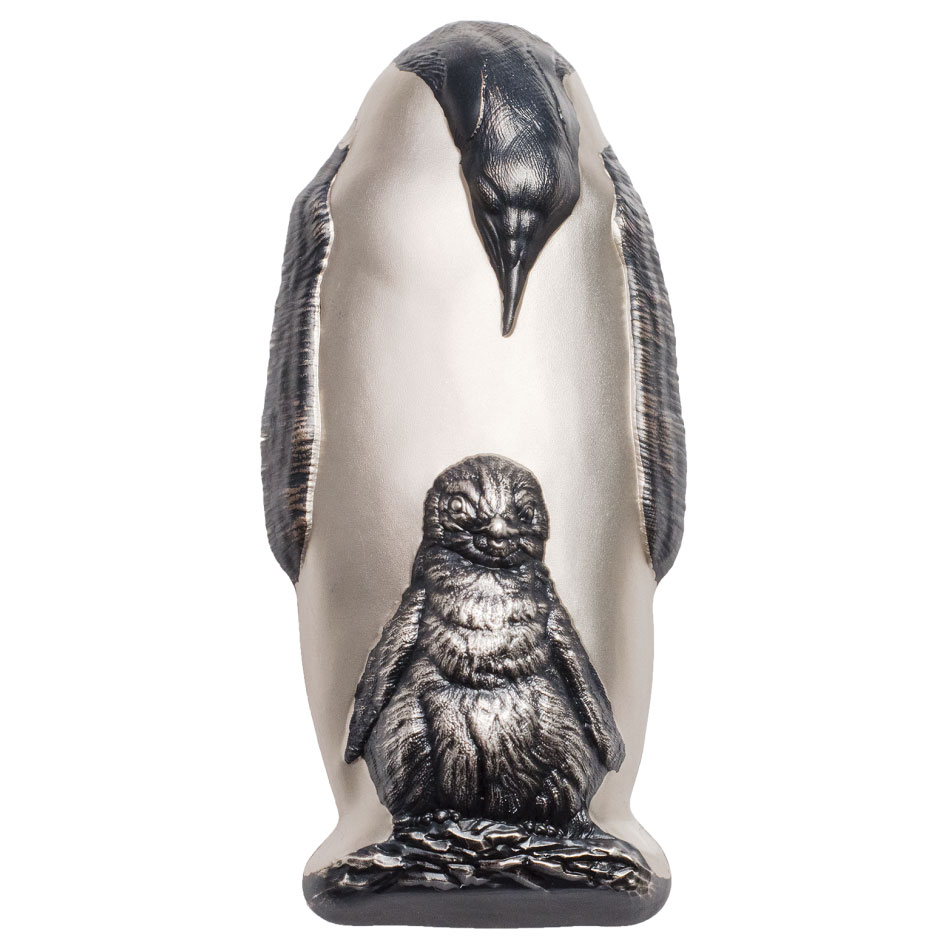 2018 Cook Islands Emperor Penguin 88 g Silver Antiqued $20 Coin GEM BU Original Government Box