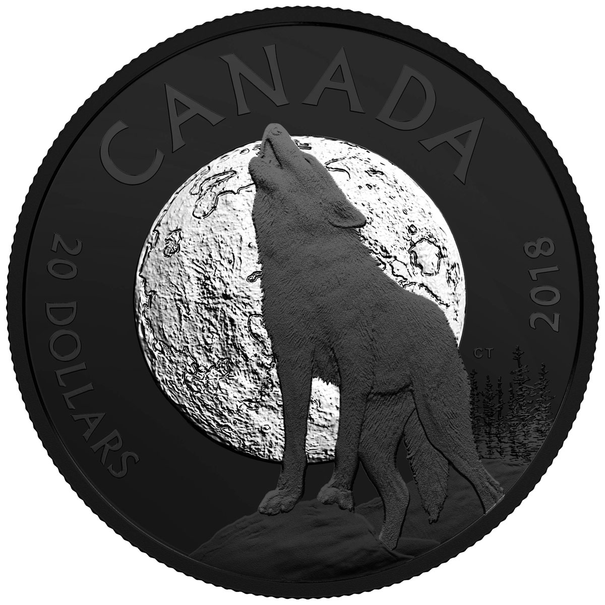 2018 Canada Nocturnal By Nature - The Howling Wolf 1 oz Black Rhodium Plated Silver Matte Proof $20 Coin GEM Proof OGP