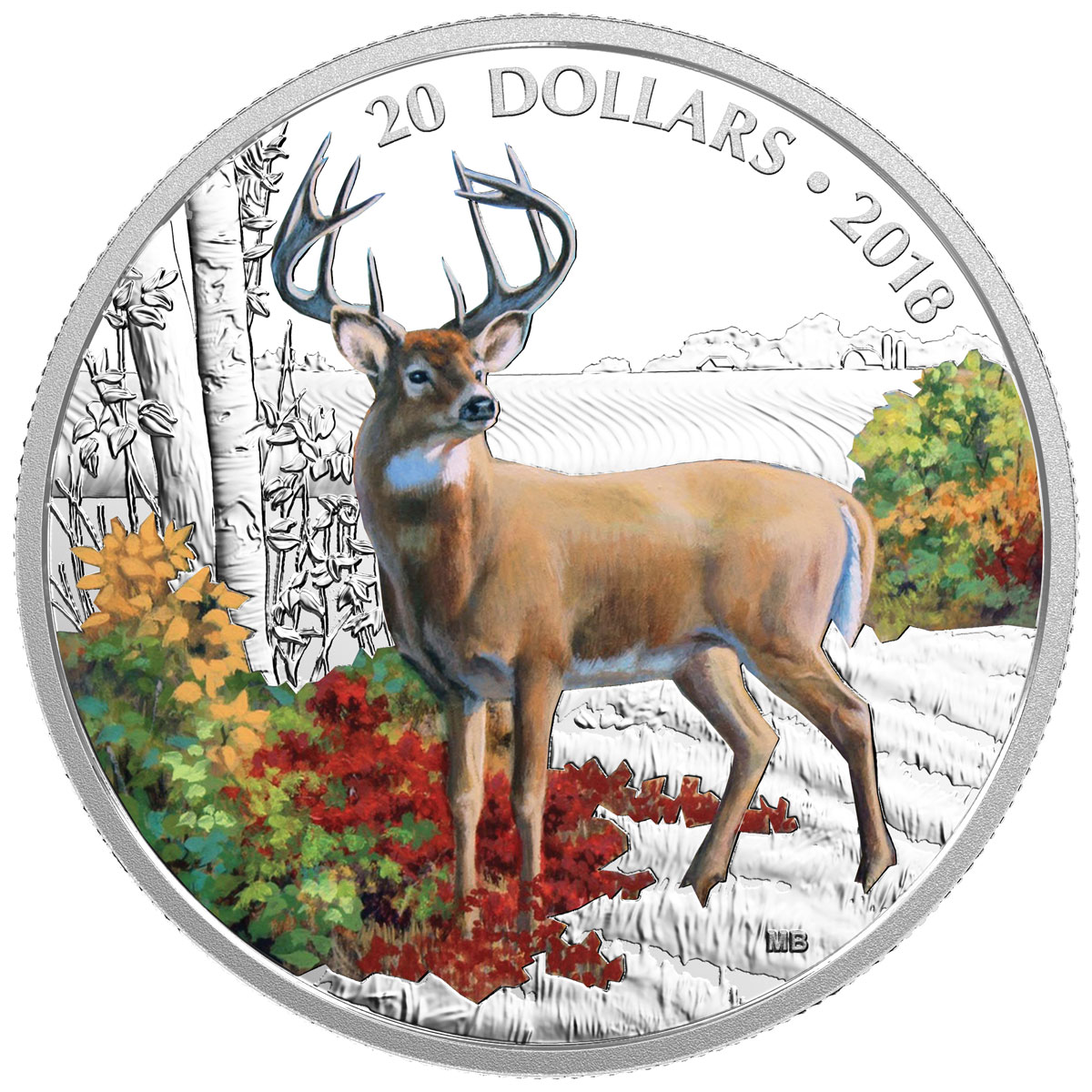 2018 Canada Majestic Wildlife - Wandering White-Tailed Deer 1 oz Silver Colorized Proof $20 Coin GEM Proof OGP