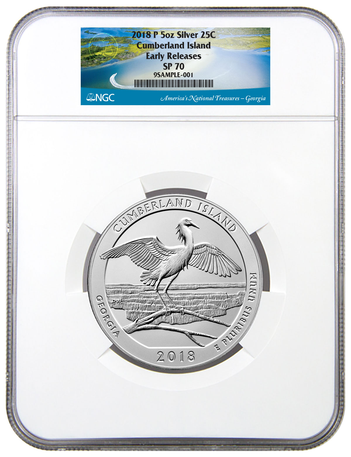 First Day Of Issue 2018 P Cumberland Island 5oz Silver Coin NGC SP70