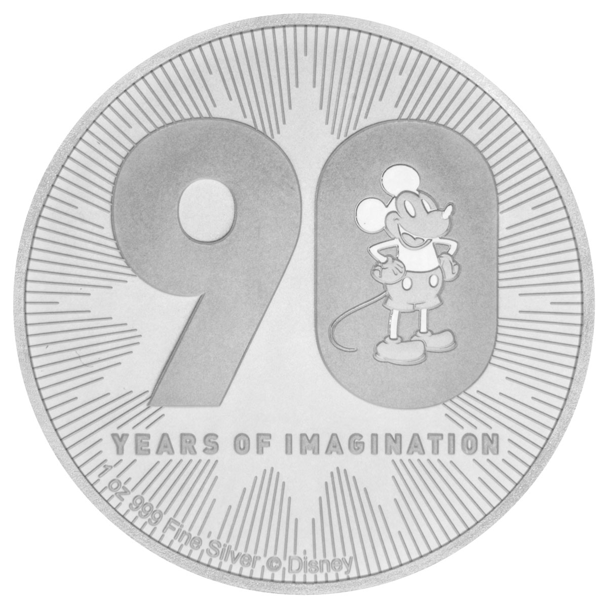 2018 Niue 1 oz Silver Disney Series - Mickey Mouse 90th Anniversary $2 Coin GEM BU