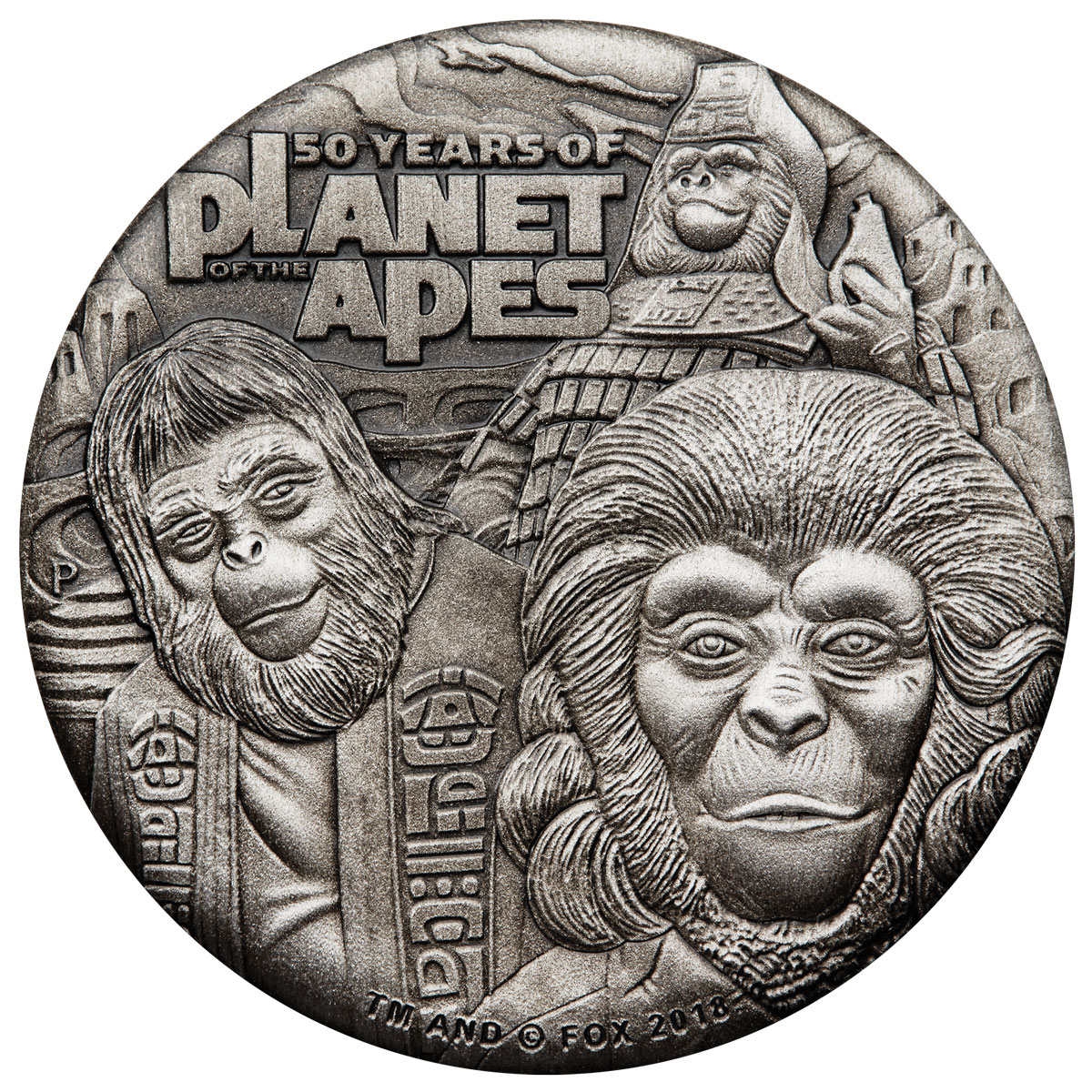 2018 Tuvalu Planet of the Apes 2 oz Silver Antiqued $2 Coin GEM BU OGP with COA