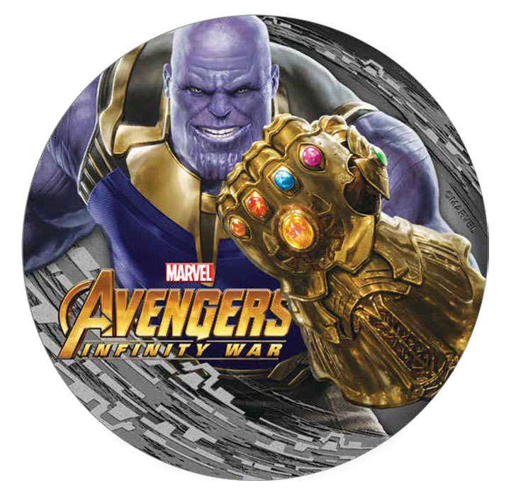 2018 Fiji Marvel's Avengers: Infinity War - Thanos 2 oz Silver Colorized Antiqued $2 Coin GEM Proof OGP
