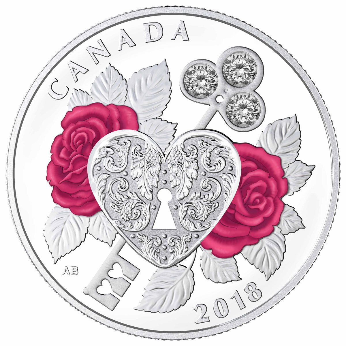 2018 Canada Celebration of Love 1/4 oz Silver Proof $3 Coin with Swarovski Crystals GEM Proof OGP