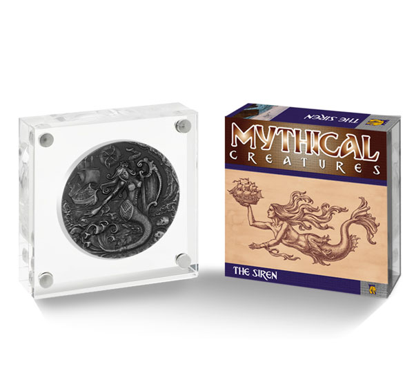 2018 British Indian Ocean Territory Mythical Creatures - The Siren Ultra High Relief 2 oz Silver Antiqued Proof £4 Coin GEM Proof OGP