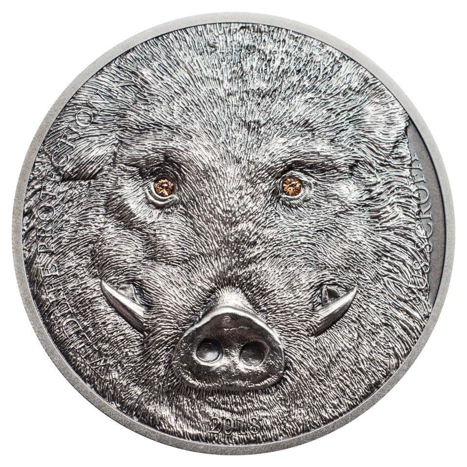 2018 Mongolia Wildlife Protection - Boar High Relief 1 oz Silver Antiqued 500 Coin GEM BU OGP
