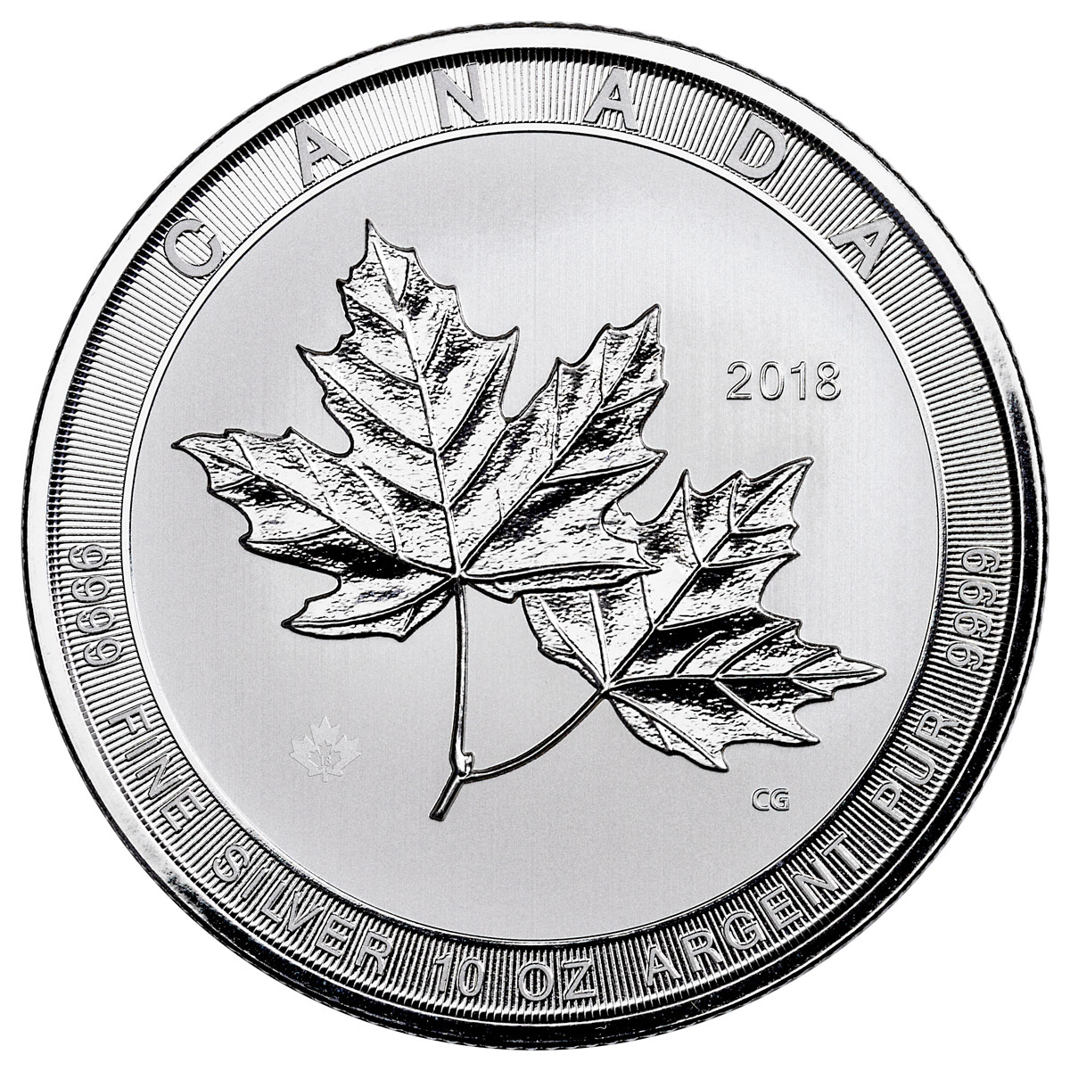 2018 Canada Magnificent Maple Leaves 10 oz Silver $50 Coin GEM BU