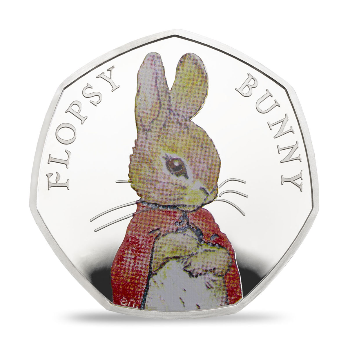 2018 Great Britain Beatrix Potter - Flopsy Bunny 8 g Silver Colorized Proof 50p Coin GEM Proof