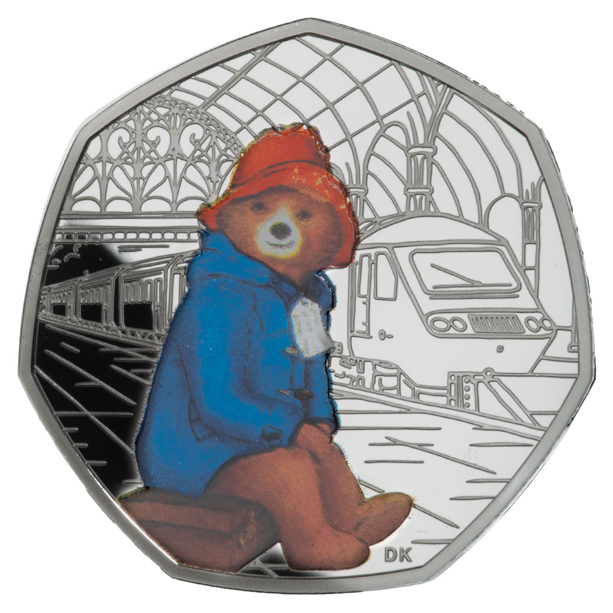 2018 Great Britain Paddington Bear - At Paddington Station 8 g Silver Proof 50p Coin GEM Proof