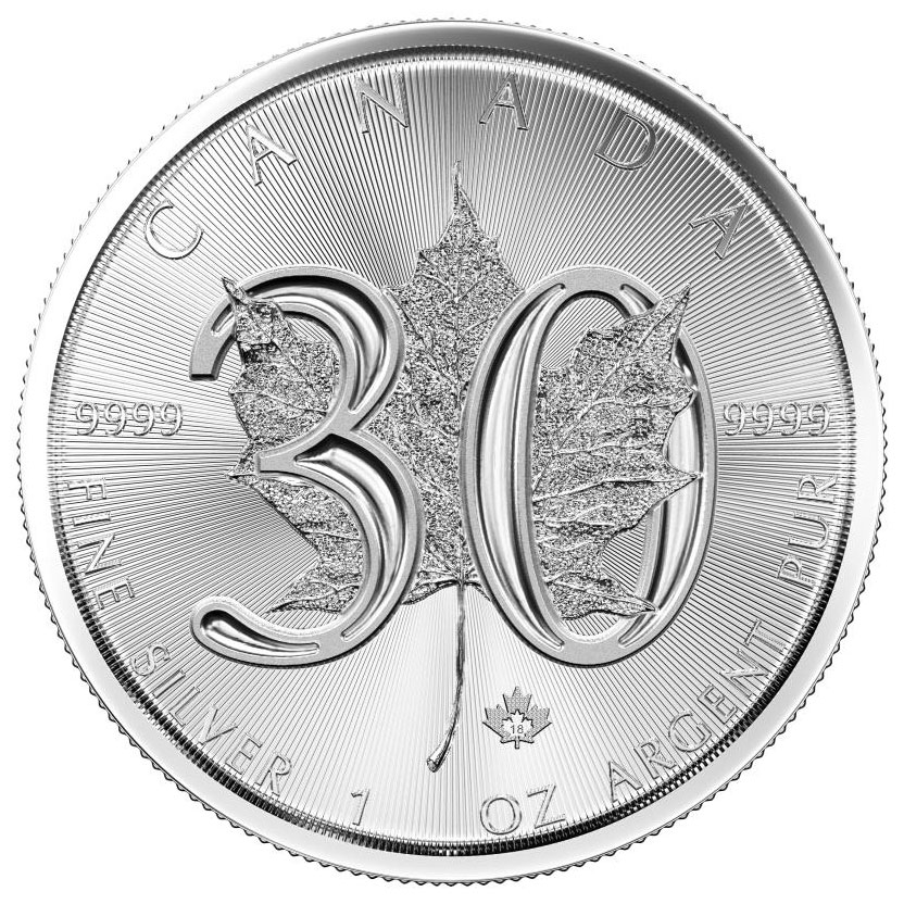 2018 Canada 1 oz Silver Maple Leaf - 30th Anniversary $5 Coin GEM BU