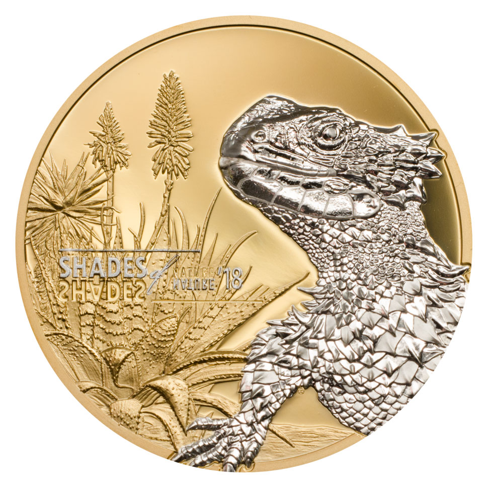 2018 Cook Islands Shades of Nature - Sungazer Lizard 25 g Silver Gilt Proof $5 Coin GEM Proof OGP