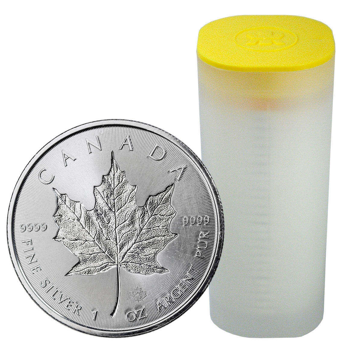 Roll of 25 - 2018 Canada 1 oz Silver Maple Leaf - Incuse $5 Coins GEM BU