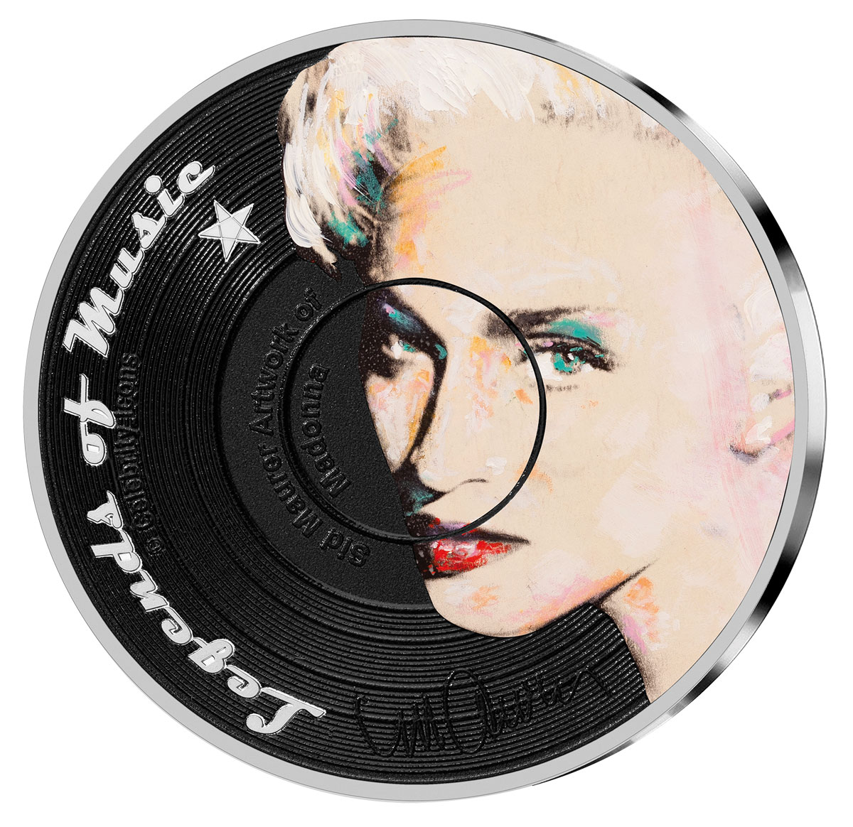 2019 Solomon Islands Legends of Music - Madonna 1 oz Silver Colorized Sid Maurer $5 Coin GEM Proof