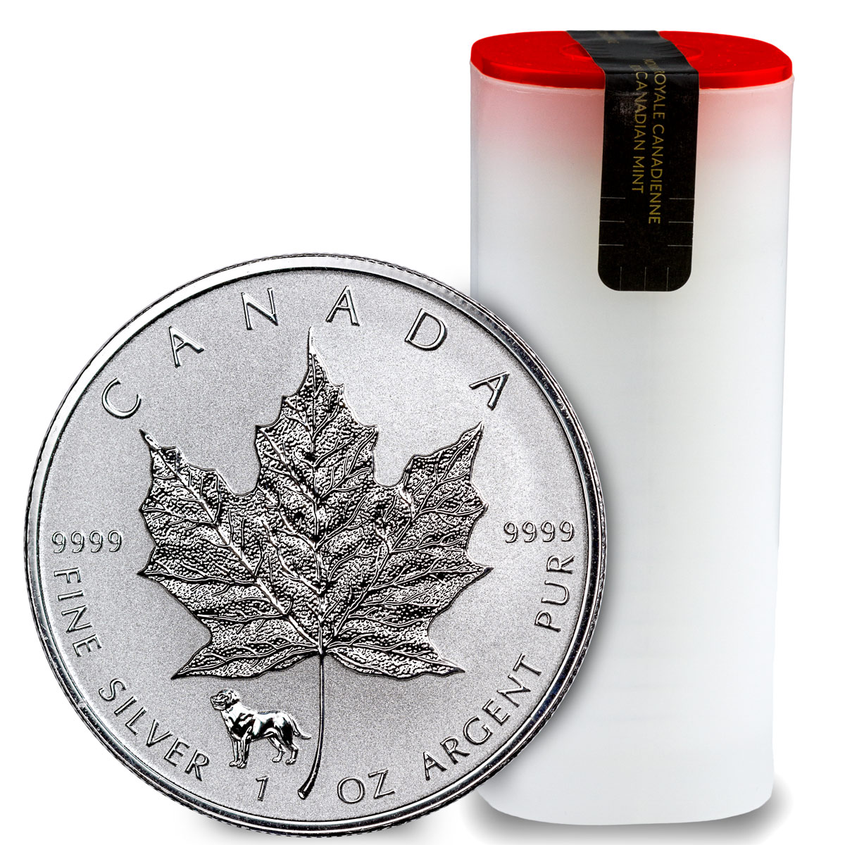 Roll of 25 - 2018 Canada 1 oz Silver Maple Leaf - Dog Privy Reverse Proof $5 Coins GEM Proof