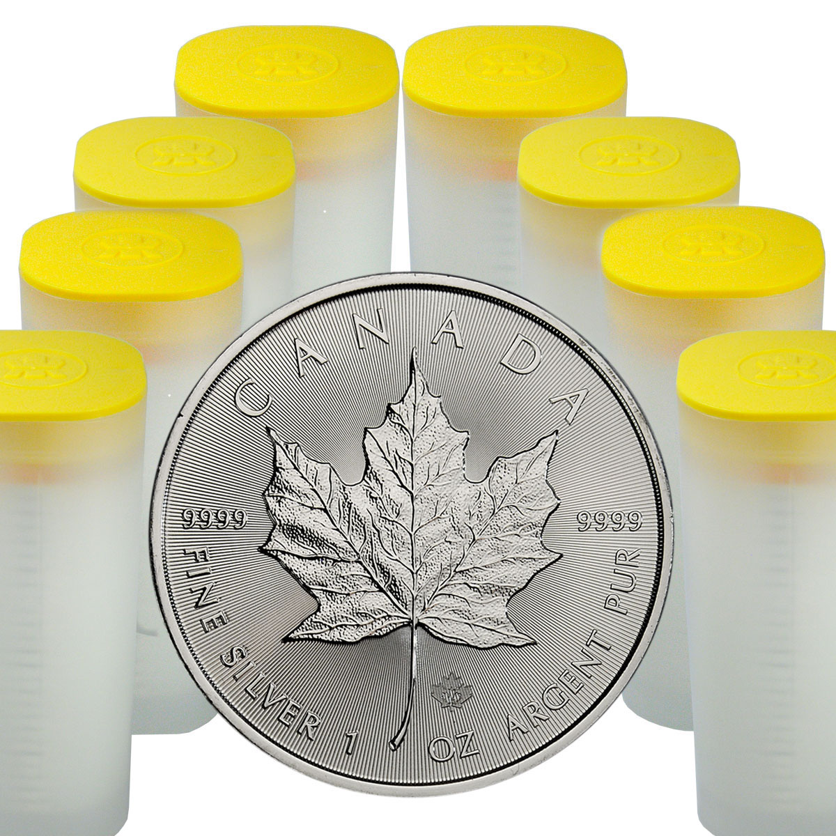 8 Rolls of 25 (200 Coins) - 2018 Canada 1 oz Silver Maple Leaf $5 Coins GEM BU